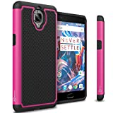OnePlus 3T Case, OnePlus 3 Case, CoverON [HexaGuard Series] Slim Hybrid Hard Phone Cover Case for OnePlus 3T / 3 - Hot Pink & Black