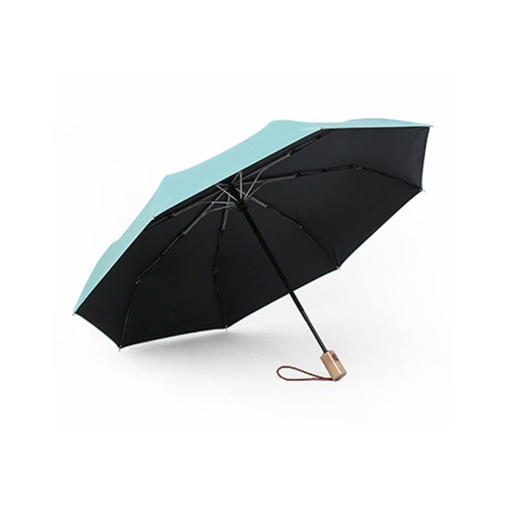 Hw home シンプルサン傘 レディース 小型 フレッシュ自動 デュアル使用 折りたたみ ブラック プラスチック 日焼け止め UV傘 (カラー:B)   B07CNRJ6D9
