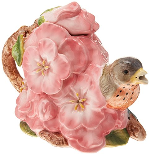 Cosmos Gifts Robin with Flowers Ceramic Teapot, 4-3/4-Inch