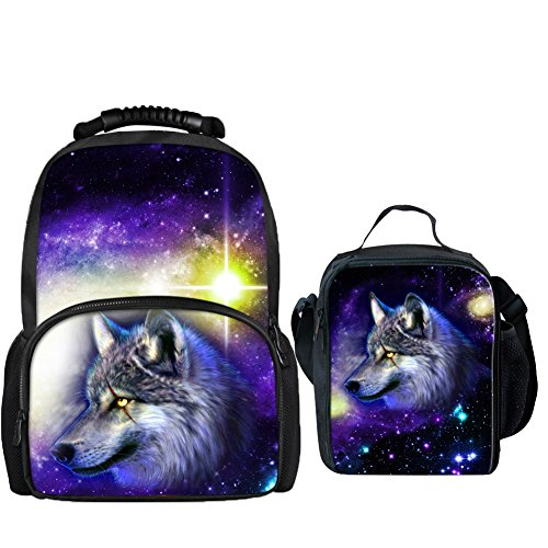 Price comparison product image Coloranimal Universe Space Wolf Printing Felt Backpack with Thermal Insulated Lunchbag