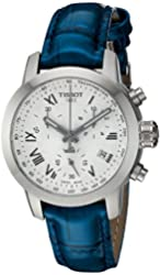 Tissot Men's Swiss Quartz Stainless Steel and Leather Casual Watch, Color:Blue (Model: T0552171603300)
