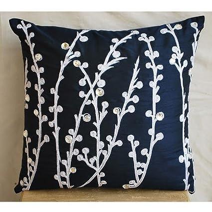 Merveilleux Designer Navy Blue Throw Pillows Cover, Willow Design Willow Pillows Cover,  18u0026quot;x18u0026quot