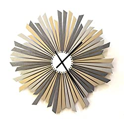The Sirius - 16 Large Size Stylish Handmade Wooden Wall Clock in shades of Silver, a piece of wall art by ardeola