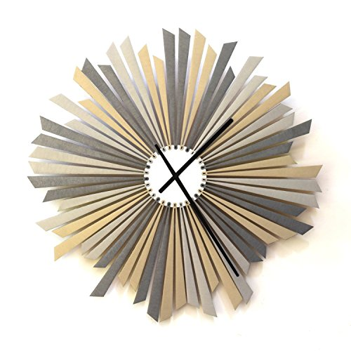 The Sirius – 16 Large Size Stylish Handmade Wooden Wall Clock in shades of Silver, a piece of wall art by ardeola