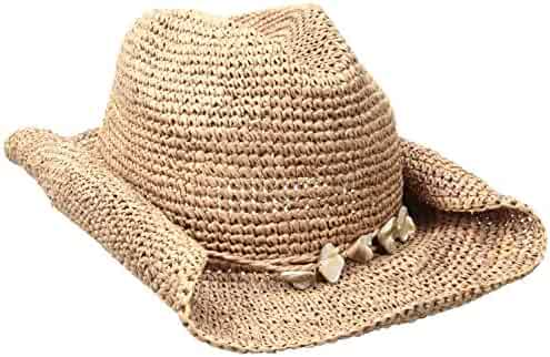 1e7f436ecdc59 San Diego Hat Company Women s Crochet Beaded Trim Raffia Cowboy Hat