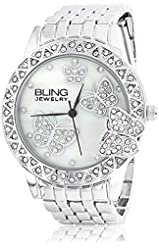 Bling Jewelry Watches Women's AD-GE0718-S-AZ Flutter Fly Grey/White Crystal Watch