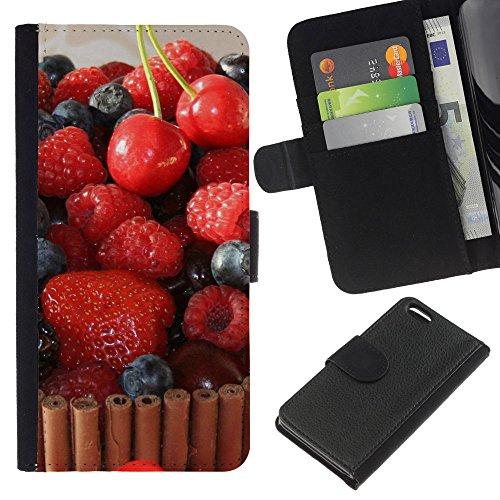Lead-Star (Fruit Macro Raspberry Cherry Cake) Colorful Impression Holster Cuir Wallet Cover Housse Peau Cas Case Coque Pour Apple iPhone 5C
