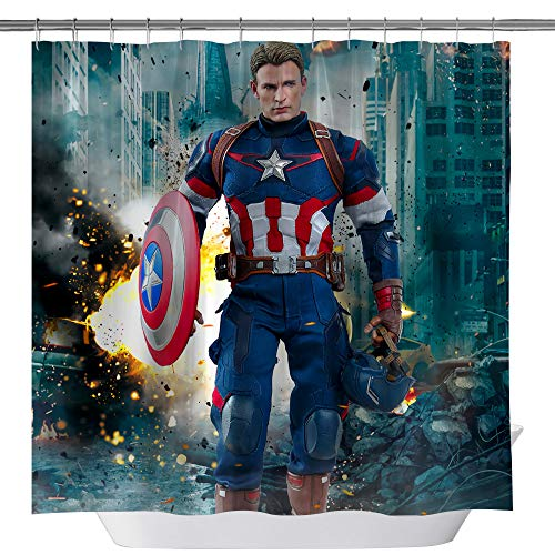 Marvel Movie Shower Curtain,Captain America Waterproof Polyester Fabric Shower Curtain for Bathroom, Bathroom Accessories with Hooks, 71X 71 in