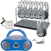 Hamilton Buhl 6 Station Listening Center with Bluetooth Boombox (CD/Cassette/FM Player) & Headphone Rack
