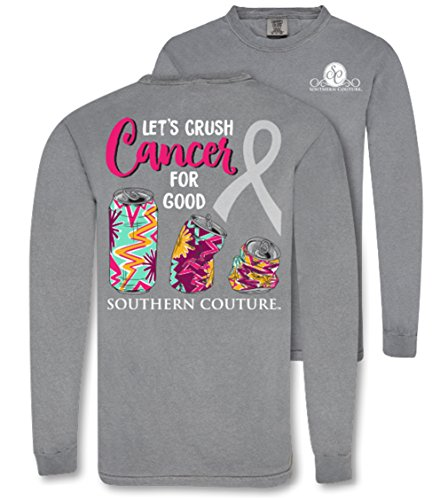 Southern Couture SC Comfort Crush Cancer For Good on Long Sleeve Womens Fit Shirt - Grey, X-Large
