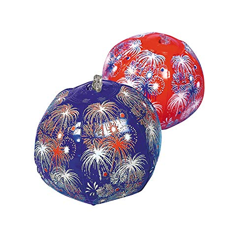 Fun Express - Mini Red White Blue Beach Balls for Fourth of July - Toys - Inflates - Mini Beach Balls - Fourth of July - 12 Pieces