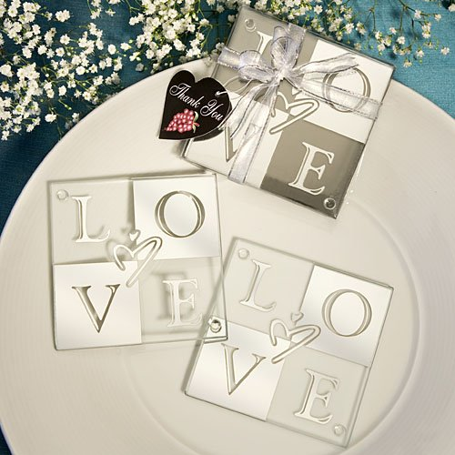 64 SETS of 2 Mirror Finish Love Coasters Wedding Favors by Fashioncraft