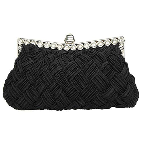 Bridesmaid Rhinestone Wedding and Superw Bridal Pleated Handbag Braided S Studded Evening Clutch Women' Purse Black wgnPnqYH