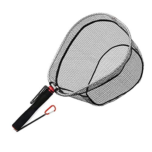 SANLIKE Fly Fishing Landing Net – Fly Fishing Net with Lanyard Safety Rope Soft Rubber Mesh Aluminum Frame and EVA Handle Bass Trout Net Catch and Release ()