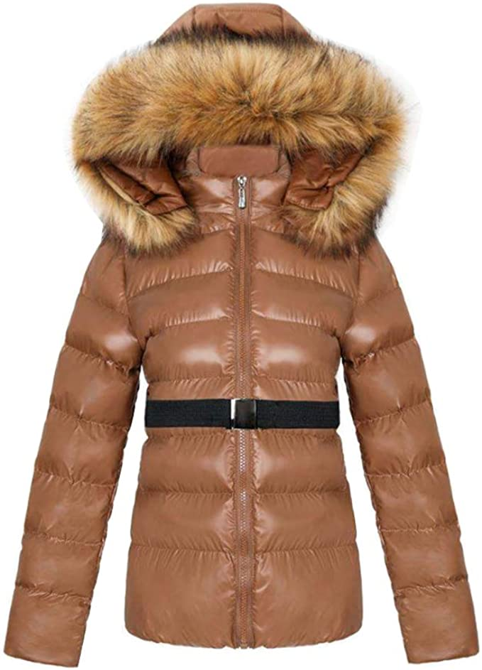 LvRao Damen Light Daunenjacke Kurze Winterjacke mit Fellkapuze Leichte Steppjacke Outdoor Warme Jacken und Mäntel