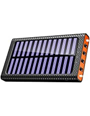 Solar Charger 24000mAh Portable Charger, TSSIBE Solar Power Bank with LED Flashlight,Multiple USB Output & Input Ports External Battery Pack for Cellphones,Android Phones,GoPro Camera,GPS and More