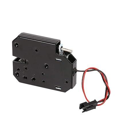 Cerradura Eléctrica Mini 12v 2a Gabinete Electromagnético Armarios De Cajones Inteligente Acero Al Carbono Cierre Negro