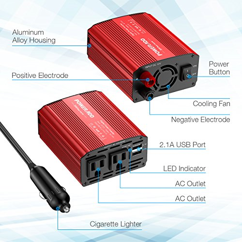 Poweradd 300W Car Power Inverter DC 12V to AC 110V Converter with Dual 3.1A Dual USB Ports for Smartphones, Tablet, Laptop, Breast pump, Nebulizer and More - Red by Poweradd (Image #1)
