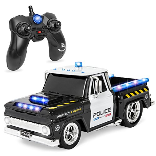 Best Choice Products 1/16 Scale Kids Remote Control Police Emergency Rescue Truck RC Car Toy w/ Headlights, Sounds, 7.4mph Top Speed - Black/White - Headlight Toy