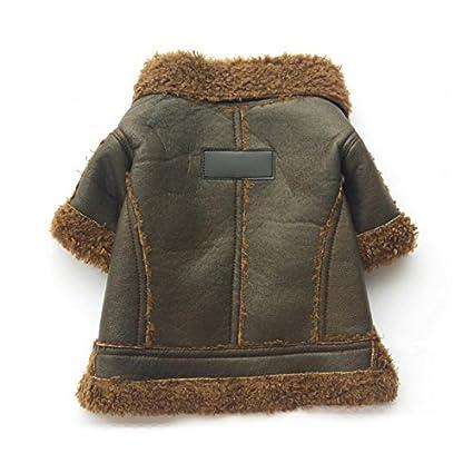 Espeedy Chaqueta perro,Moda oto/ño invierno capa del perro de la felpa de cuero de la PU ropa para mascotas espesar a prueba de viento perrito caliente chaqueta ropa mascotas suministros