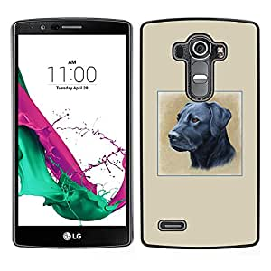 LECELL--Funda protectora / Cubierta / Piel For LG G4 -- Pintura Negro Labrador Retriever perro Petróleo --