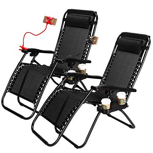 Idealchoiceproduct Set of 2 Zero Gravity Adjustable Headrest Lounge Beach Chairs Folding Outdoor Camping Recliner Black W/ Utility Tray-Black Color,2pcs Product ID: 614405310178