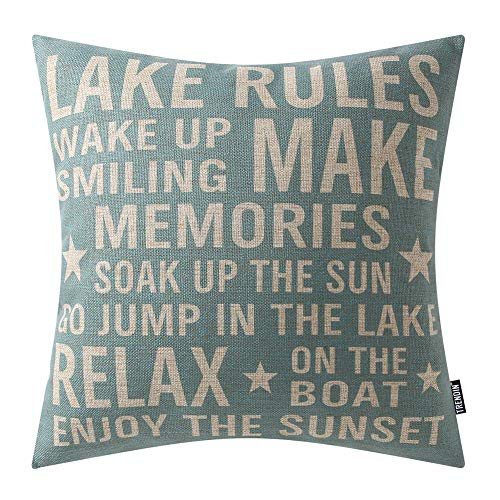 TRENDIN Decorative Throw Pillow Cover 18x18 inch Blue Phrase Lake Rules Cushion Case Square Shape PL286TR (Throw Lake Pillows)