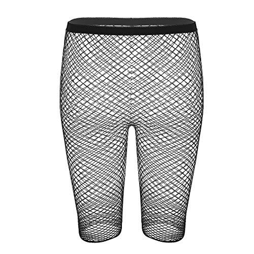 inlzdz Women's See Through Mesh Slim Fit Leggings Capri Length Cycling Shorts Hot Pants Black&Type B One Size