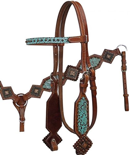 Showman Turquoise Filigree Bridle, Breast Collar, and Split Reins Set with Large Copper Diamond Conchos and Copper Studs.