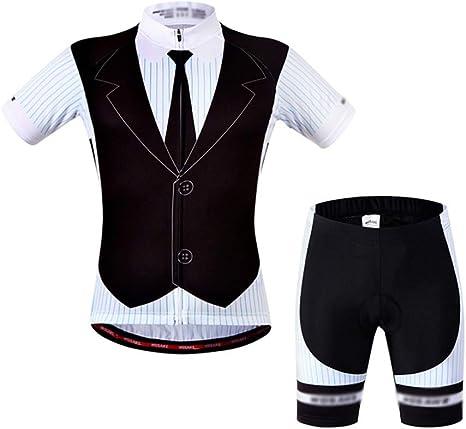 JESSIEKERVIN Carretera Bicicleta de montaña Bicicleta Jersey Montar Manga Corta Traje Camisa de Manga Corta Pantalones Cortos de Silicona (Size : M): Amazon.es: Deportes y aire libre