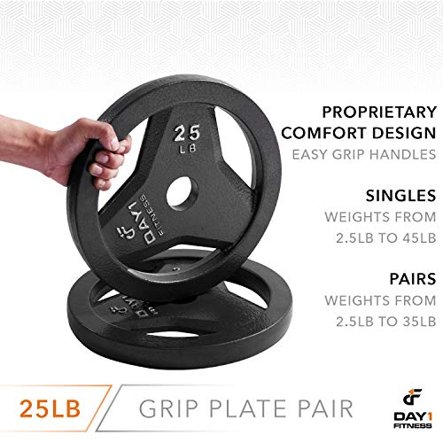 "Day 1 Fitness Cast Iron Olympic 2-Inch Grip Plate for Barbell, 25 Pound Set of 2 Plates Iron Grip Plates for Weightlifting, Crossfit - 2"" Weight Plate for Bodybuilding by Day 1 Fitness (Image #4)"