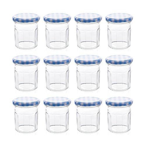 Klean Shop Jam Jars With Lids - Blue Lid Jam Jar Set - Fruit Mason Jar - Glass Jam Canning Jars - DIY 8oz (250ml), 12 Pack Jars- Perfect for Jam Storing, Pickles and Many Other