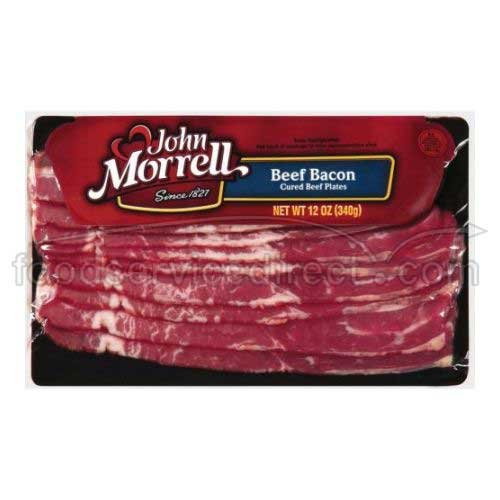 John Morrell Cured Beef Bacon Plate, 12 Ounce -- 16 per case.