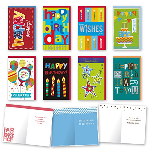 Assorted General Birthday Cards Bulk Card Set of 8 Cards with Envelopes. Large Handmade Cards 5 x 8 with Foil/Glitter Finishes