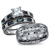 His & Hers Wedding Ring Sets Women's Stainless Steel Vintage Ring Set & Men's Titanimum Wedding Band (Women's Size 05 & Men's Size 09)