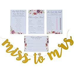 Bridal Shower Games pack with Bonus Miss to Mrs Banner (GOLD), Dots and Wedding Advice Cards | 3 Games - What's On Your Phone, He Said She Said, How Well Do You Know The Bride(50 Sheets each)