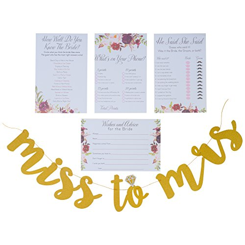Bridal Shower Games pack with Bonus Miss to Mrs Banner (GOLD), Dots and Wedding Advice Cards | 3 Games - What's On Your Phone, He Said She Said, How Well Do You Know The Bride(50 Sheets each) (Ideas Wedding Shower)