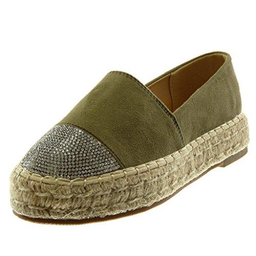 Angkorly Women's Fashion Shoes Espadrilles - Slip-on - Platform - Rhinestone - Cord - Braided Block Heel 3 cm Green 5qDKq4l3V