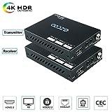 EZCOO 4K HDMI 2.0 Extender,HDBaseT Extender | Uncompressed 4K 60Hz HDR HDCP 2.2, 230ft 1080P, 130ft 4K via Single Cat5e/6a | Bi-directional PoE+IR, CEC, Dolby Atmos, DTS:X