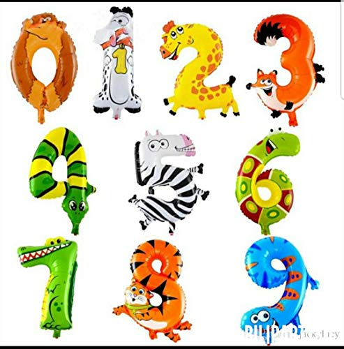 16 inch Animal Arabic numerals Balloon Cartoon Foil Balloons for Birthday Wedding Party Decoration Kid Toys Package of - Party Rio 2 Birthday Supplies
