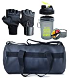 Hyper Adam AN-90 Polyester and Leather Antique Gym Bag, Protein Shaker and Gym Glove with Wrist Support Combo, Medium (Black, 405060)