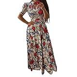 Women Dress, Women Casual Dresses Womens Fashion Casual Floral Printed Maxi Dress Short Sleeve Party Long Dress