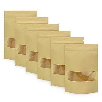 BUZIFU 50pcs Bolsas de Papel para Alimentos(14 x 22 cm) Bolsas de Papel Kraft con Ventana/Base/Cierre Zip, Impermeable y Resistente, para Guardar o ...