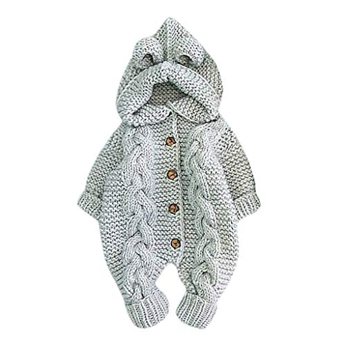 Goldweather Baby Knit Sweater Jumpsuit Infant Girls Boy Cartoon Long Sleeve Hooded Rompers Outwear (Gray,3-6 Months)