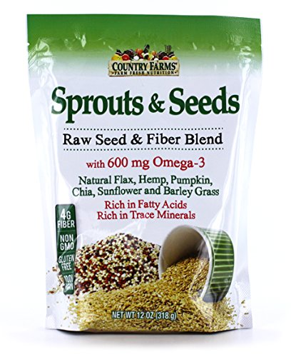 Country Farms Sprouts and Seeds, with Fiber Blend and Omega 3s, 60 Servings
