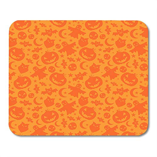 Semtomn Gaming Mouse Pad Orange Autumn Halloween Pattern Horror Pumpkin Bat Beast Bogey 9.5