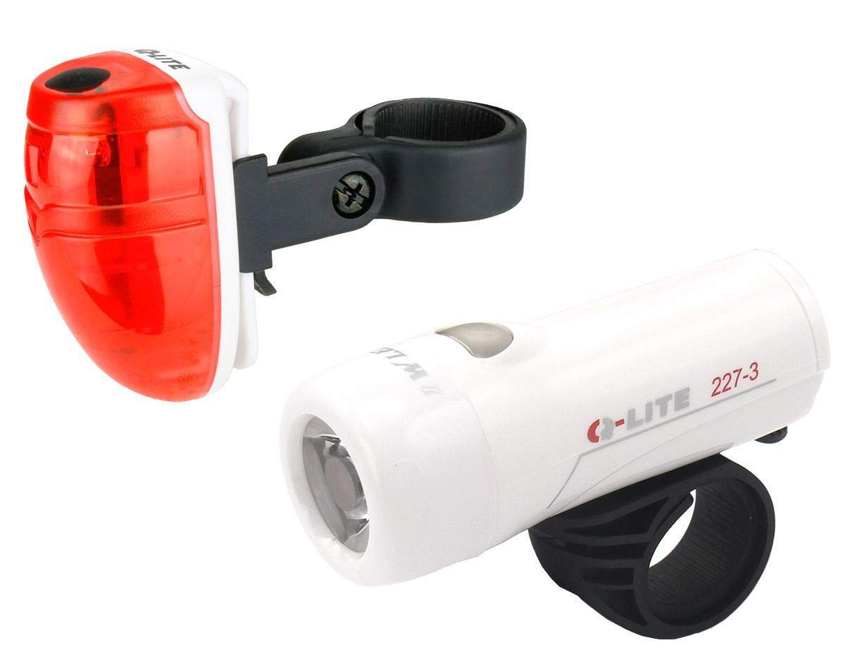 Q-Lite バッテリー白でバイク自転車のフロントとリアの3つのLEDライトキット   B074FWW78J