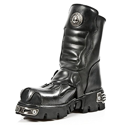 Biker Boots M Black New S3 Unisex Leather Black Rock Gothic 591 46wITa