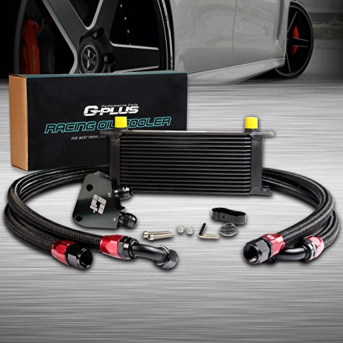 16 Row Universal AN10 Engine Transmisson Oil Cooler Kit + Oil Cooler Sandwich Plate Fit For LS1 LS2 LS3 Black