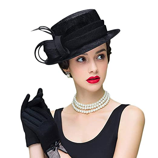 Royal Fascinator Womens Sinamay Hat Church Wide Brim Wedding Kentucky Derby  Hats with Feather at Amazon Women s Clothing store  7042fb822f58